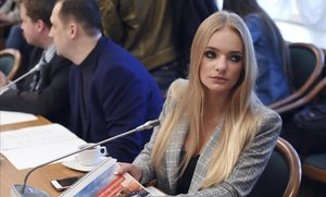 Elizaveta Peskova asiste a una reunión de blogueros en la Duma, hace dos años.