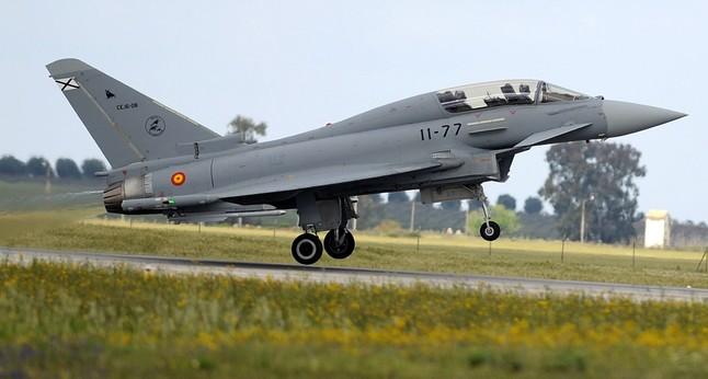 Un avión Eurofighter en la base de Morón de la Frontera.