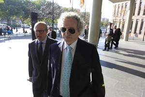 Falcones, llegando hoy a los juzgados para declarar como imputado por fraude a Hacienda.