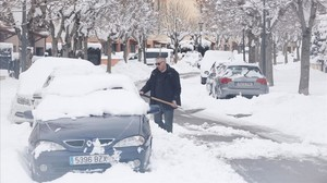 Calles nevadas en Camprodon, el pasado jueves.
