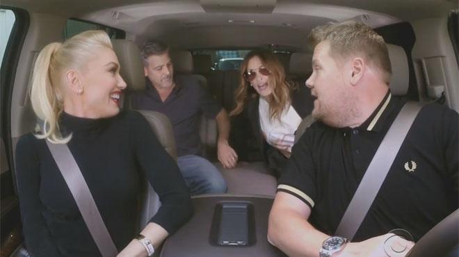 George Clooney y Julia Roberts junto a Gwen Stefani cantan un Karaoke en el coche.