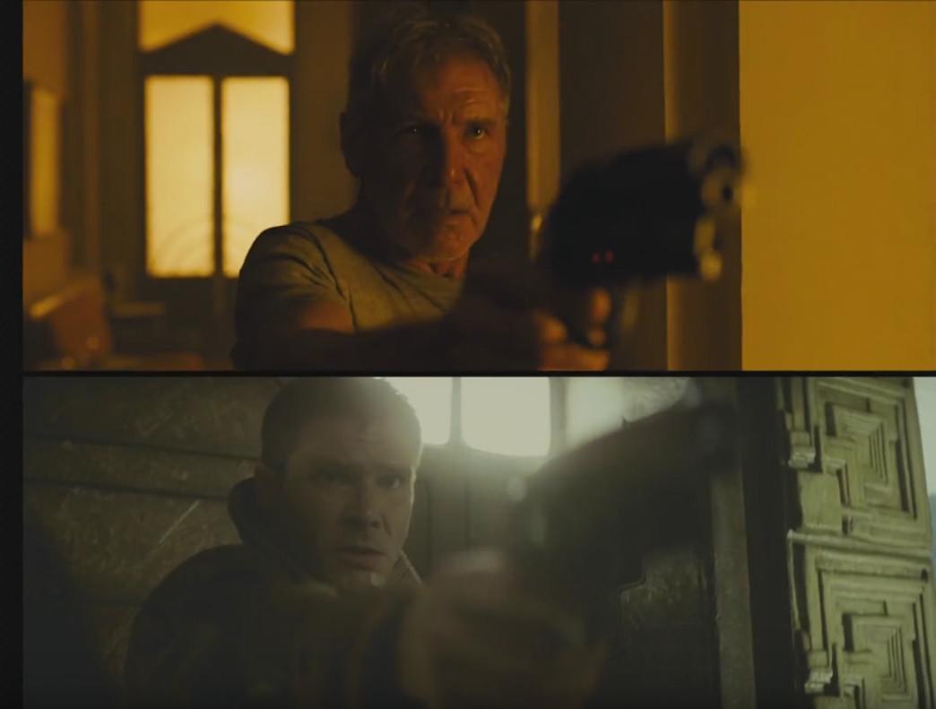 Harrison Ford, como Deckard en Blade runner 2049 (2017) y en Blade runner (1982).