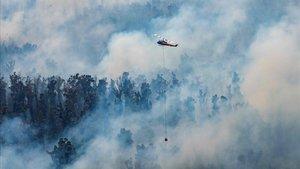Un helicóptero lanza agua sobre un fuego en el departamento de Victoria.