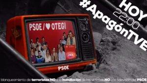 Imagen de la campaña que el PP ha promevido por la entrevista de Arnaldo Otegui en TVE.