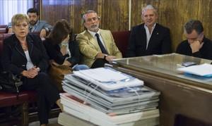 Imagen del juicio celebrado en Valencia sobre el caso Fitur en la que aparecen Francisco Correa y Pablo Crespo, entre otros