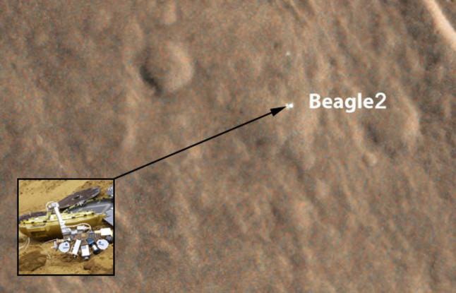 Imatge de Mart amb una recreació de la sonda Beagle 2.