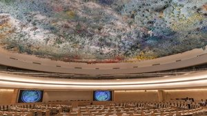 Interior de la sede de la ONU en Ginebra.