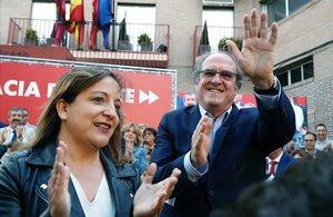 Iratxe García, junto a Angel Gabilondo en un acto de campaña para las elecciones europeas, el pasado mayo, en Madrid.