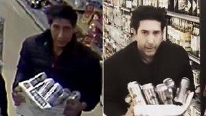 A la izquierda, el ladrón de cervezas buscado por la Policía y el actor David Schwimmer, en el vídeo parodia.