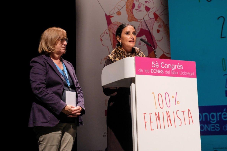M. Jesús Rodríguez y Josefina Caro en el Congreso de Mujeres del Baix Llobregat, el pasado sábado en Castelldefels