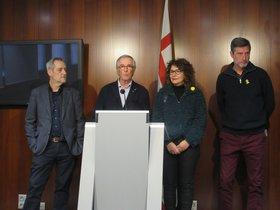 Jordi Coronas, Xavier Trias, Montse Benedi y Jordi Martí, en la rueda de prensa conjunta que han ofrecido PDECat y ERC.