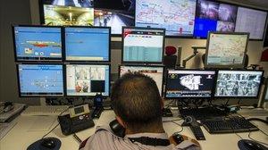 Centro de seguridad del Metro, en Barcelona.