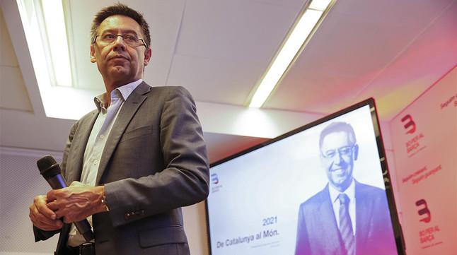 Josep Maria Bartomeu, candidato a la presidencia del Barça, en un acto electoral reciente.