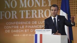 Macron durante su intervención en la conferencia.