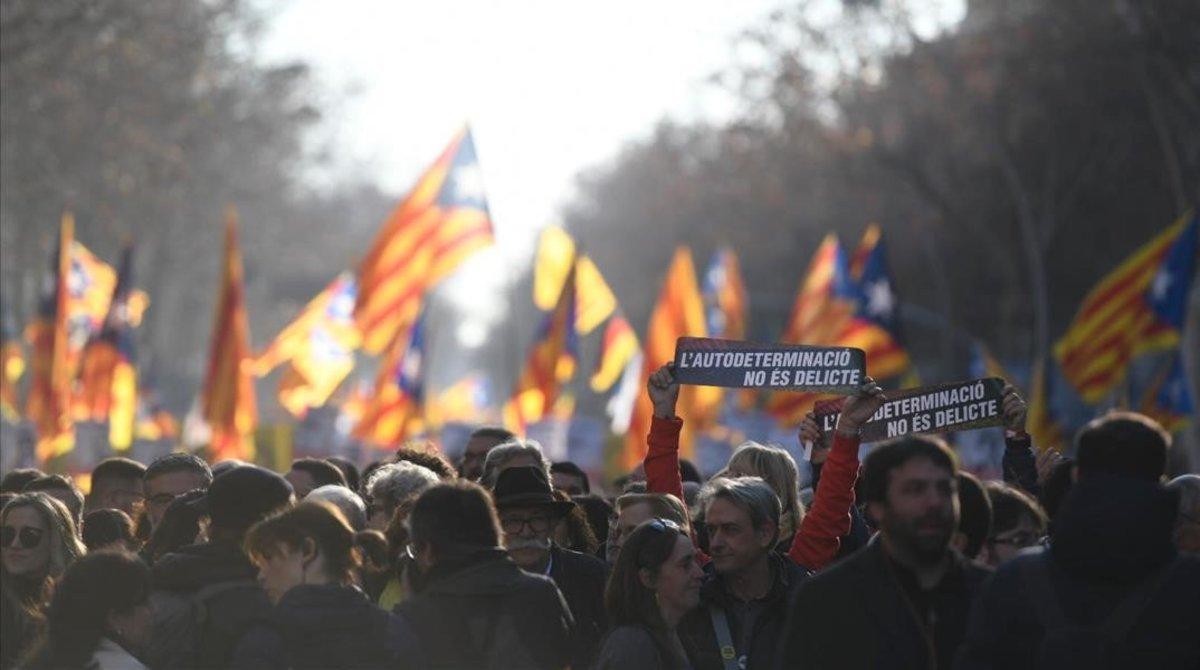 La manifestación en Barcelona contra el juicio del 'procés'.