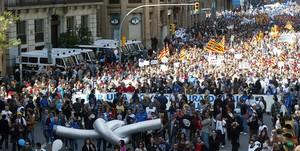 Manifestación contra el trasvase del Ebro en Barcelona, el 9 de marzo del 2002.
