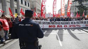 Manifestación de UGT y CCOO en Madrid.
