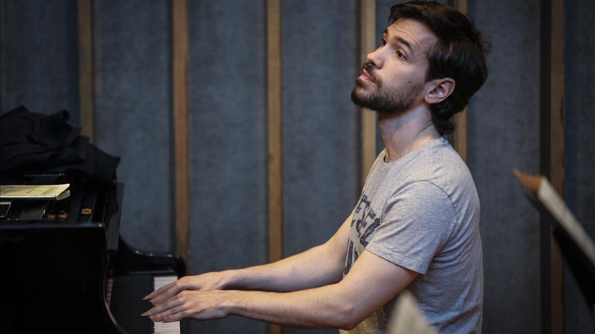 Marc Heredia, durante un ensayo con la Banda Municipal.