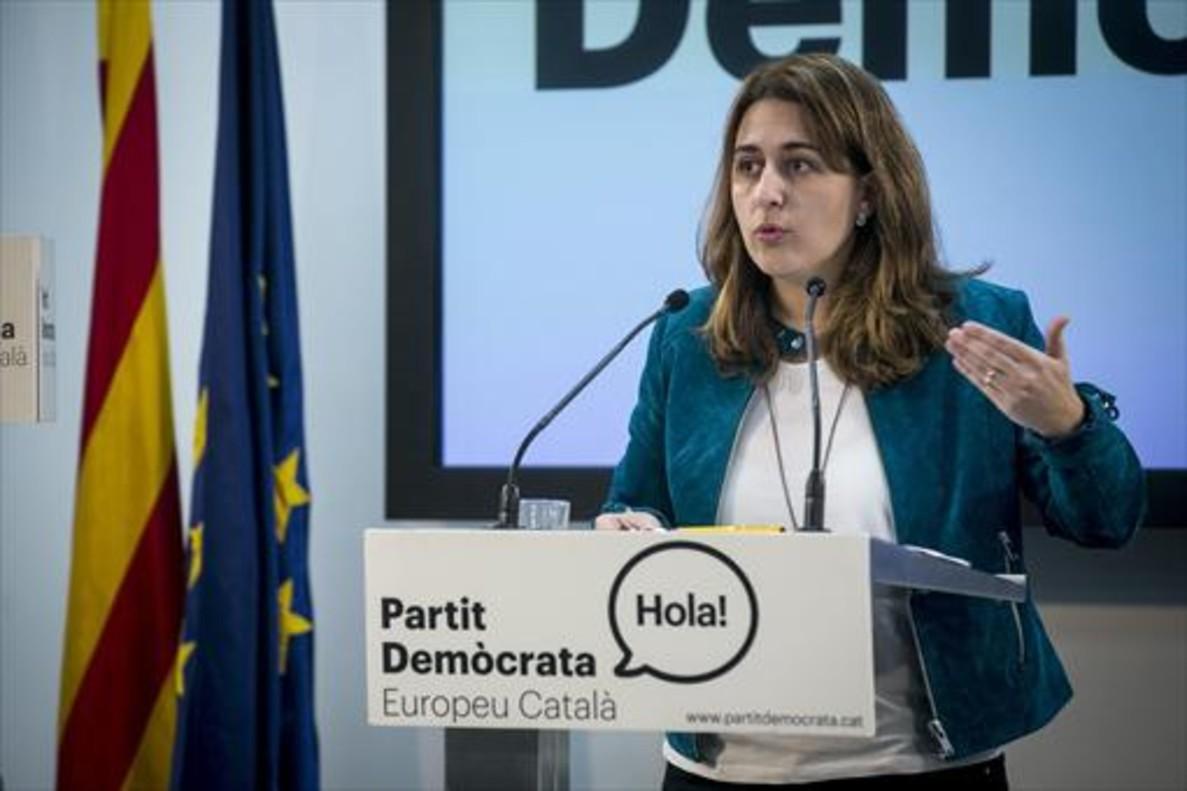 Marta Pascal, en la sede del PDECat.