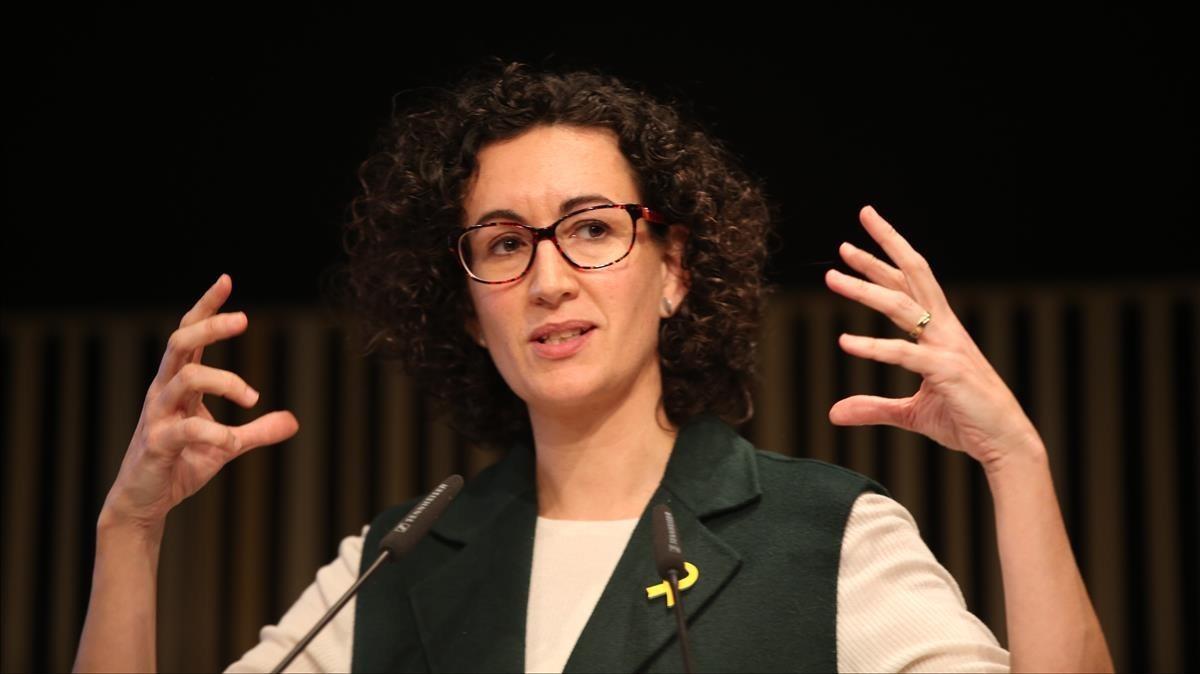 Marta Rovira en el acto de campaña de ERC para presentar las Mesures republicanes de Govern.