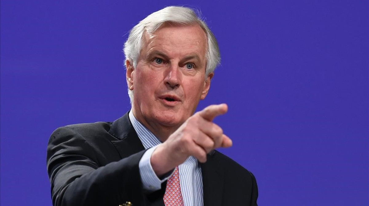 Michel Barnier, en la rueda de prensa de este miércoles, en Bruselas.