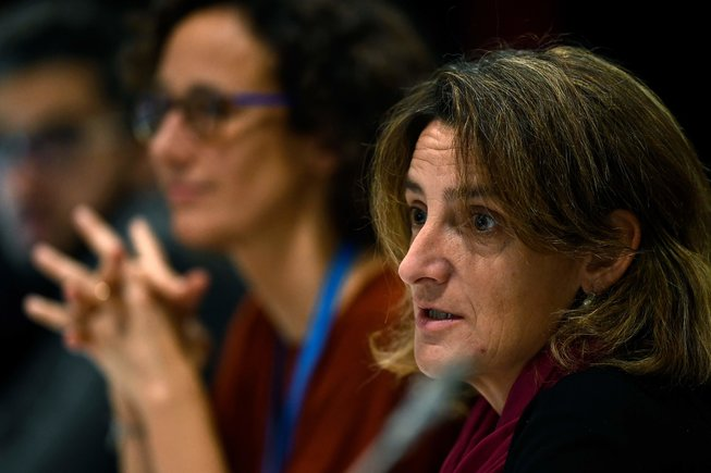 La ministra en funciones de Transición Energética, Teresa Ribera, este domingo en la cumbre del clima.