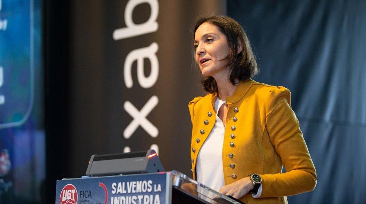 La ministra de Industria, Comercio y Turismo, Reyes Maroto, en Vitoria este jueves.