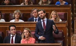 Pablo Casado, durante su intervención en la segunda y última sesión de control al Gobierno.
