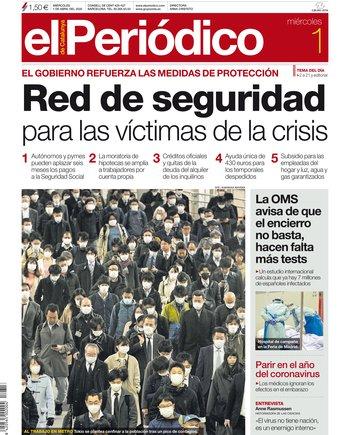 La portada de EL PERIÓDICO del 1 de abril del 2020.