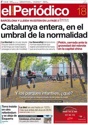 La portada de EL PERIÓDICO del 18 de junio del 2020