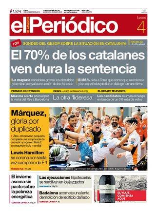 La portada de EL PERIÓDICOdel 4 de noviembre del 2019.