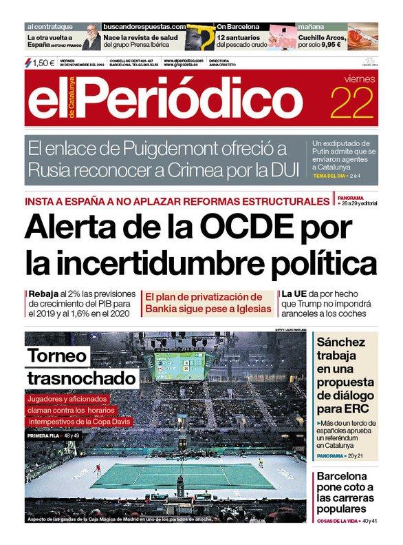 La portada de EL PERIÓDICO del 22 de noviembre del 2019