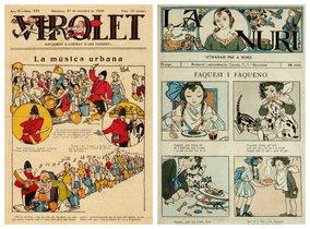 Las primeras historietistas quedaron relegadas al mundo infantil. Destacan Lola Anglada, que en este ejemplar de 1926 del semanario 'La Nuri' explica cómo tienen que comportarse las niñas (derecha); o Abel, el alias masculino que utilizaba Josefina Tanganelli para firmar sus obras, incluida esta portada de 1930 del 'Virolet'.