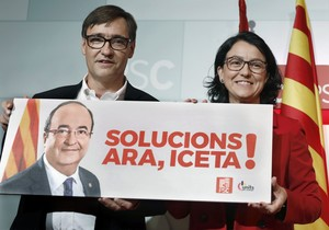 El director de campaña del PSC, Salvador Illa y la portavoz, Eva Granados, presentan ell programa de los socialistas catalanes para las elecciones del 21 de diciembre.
