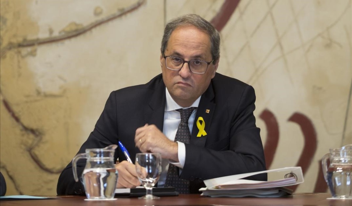 Quim Torra en la reunión del Consell Executiu del Govern de la Generalitat.