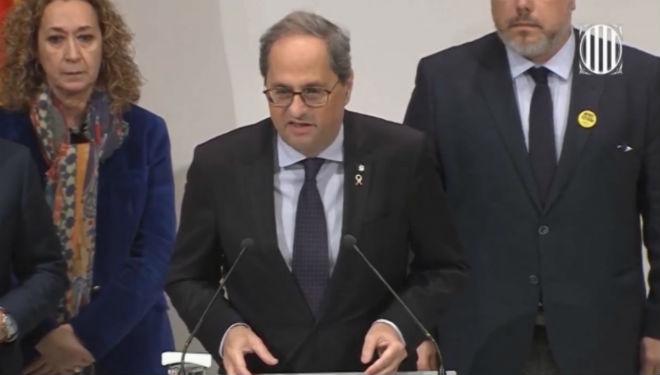 Declaración de Quim Torra tras la resolución de la Junta Electoral Central.