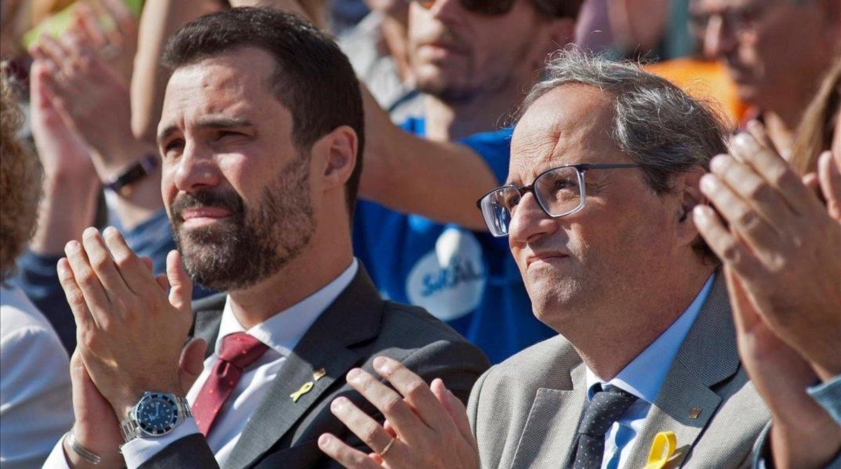 Roger Torrent y Quim Torra en Girona.