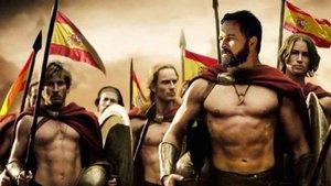 Santiago Abascal caracterizado como un gladiador de la película '300', en un meme de Vox.