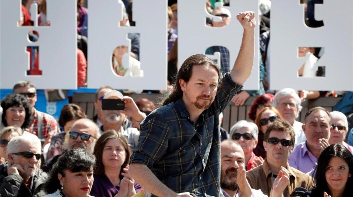 El secretario general de Podemos y candidato a la presidencia, Pablo Iglesias, en un acto en Pamplona
