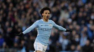 Leroy Sané, con la camiseta del Manchester City.