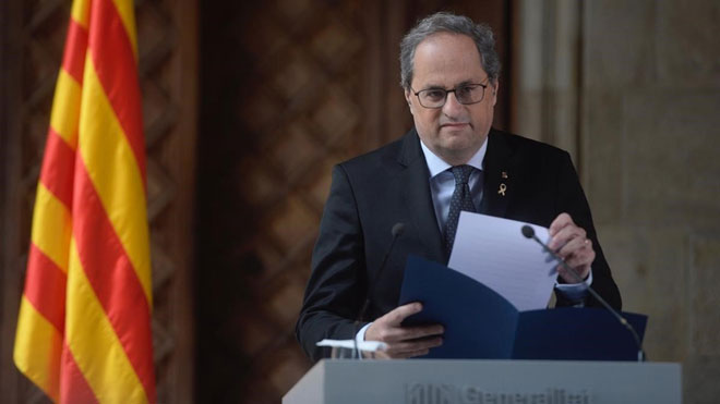 Torra rechaza reunirse el 24 y propone a Sánchez cinco fechas alternativas. En la foto, el 'president' de la Generalitat.