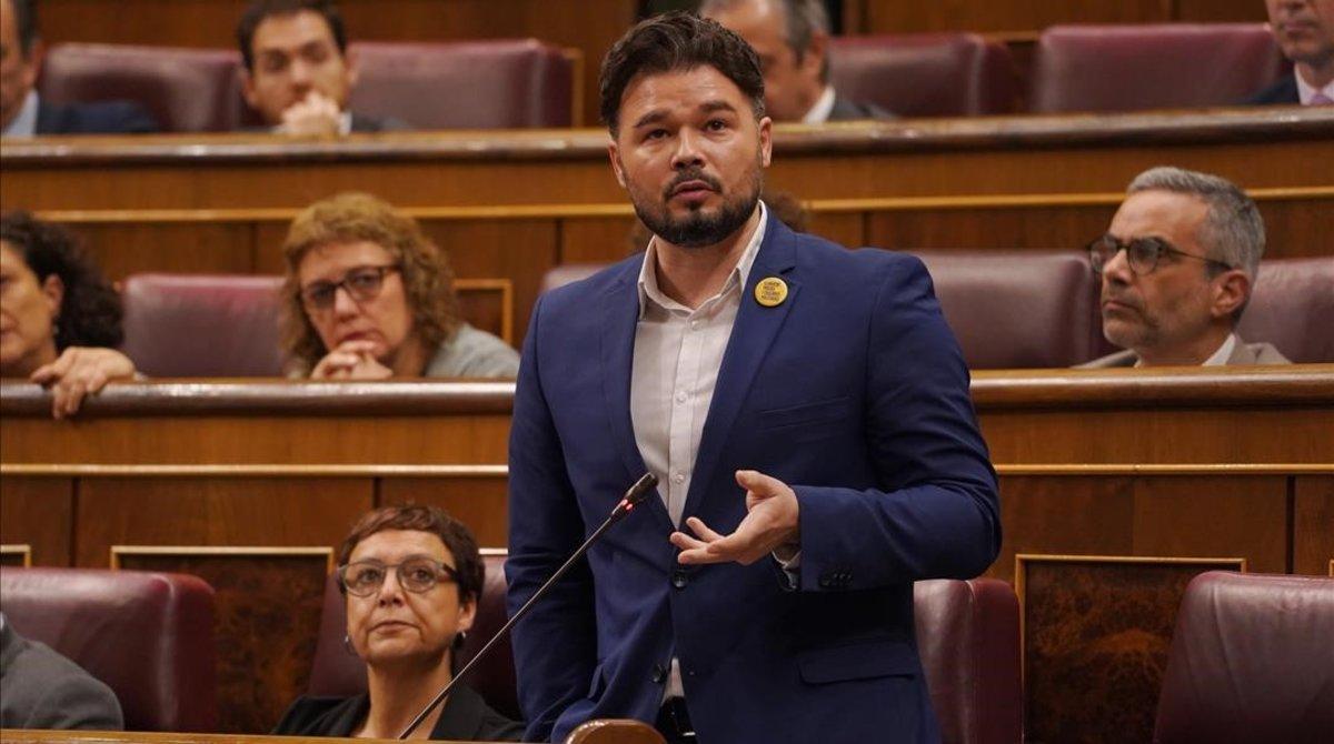 Gabriel Rufián, durante su intervención en la sesión de control.