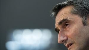 Valverde, en la sala de prensa de la ciudad deportiva de Sant Joan Despí.