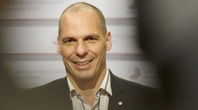 Yanis Varoufakis, el viernes en Riga.