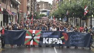 Manifestación en Galdakao en memoria del preso de ETA Kepa del Hoyo y contra la política penitenciaria del Gobierno.