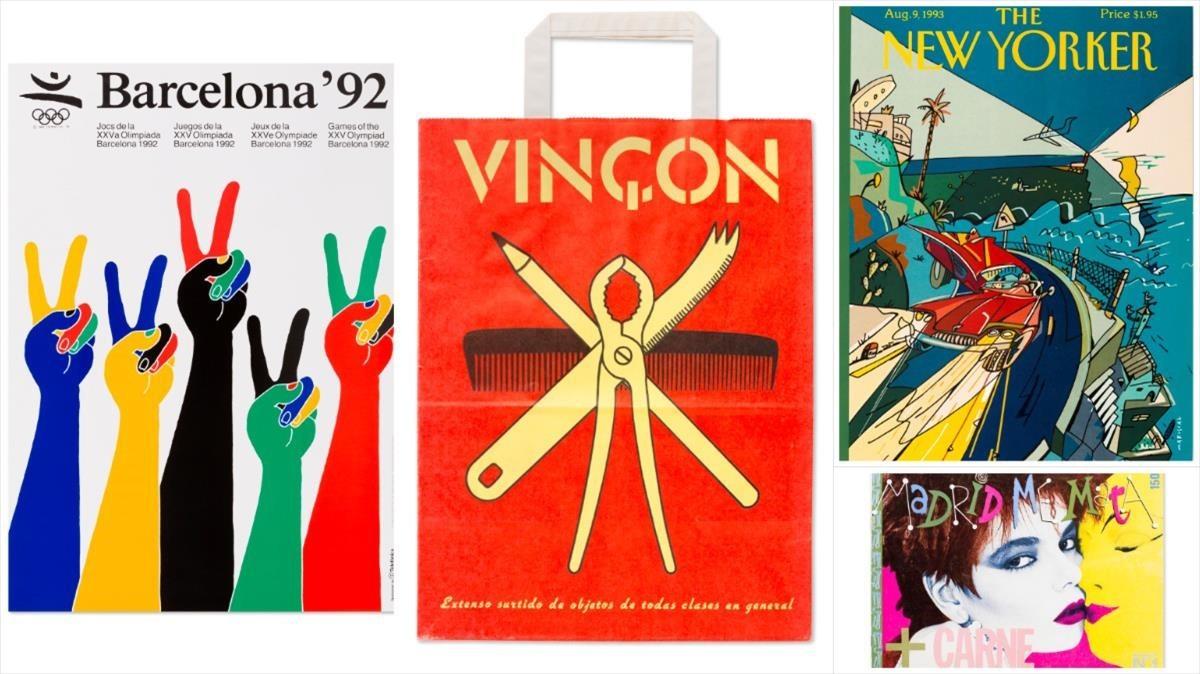 Un collage de varias de las piezas exhibidas en el Museu del Disseny
