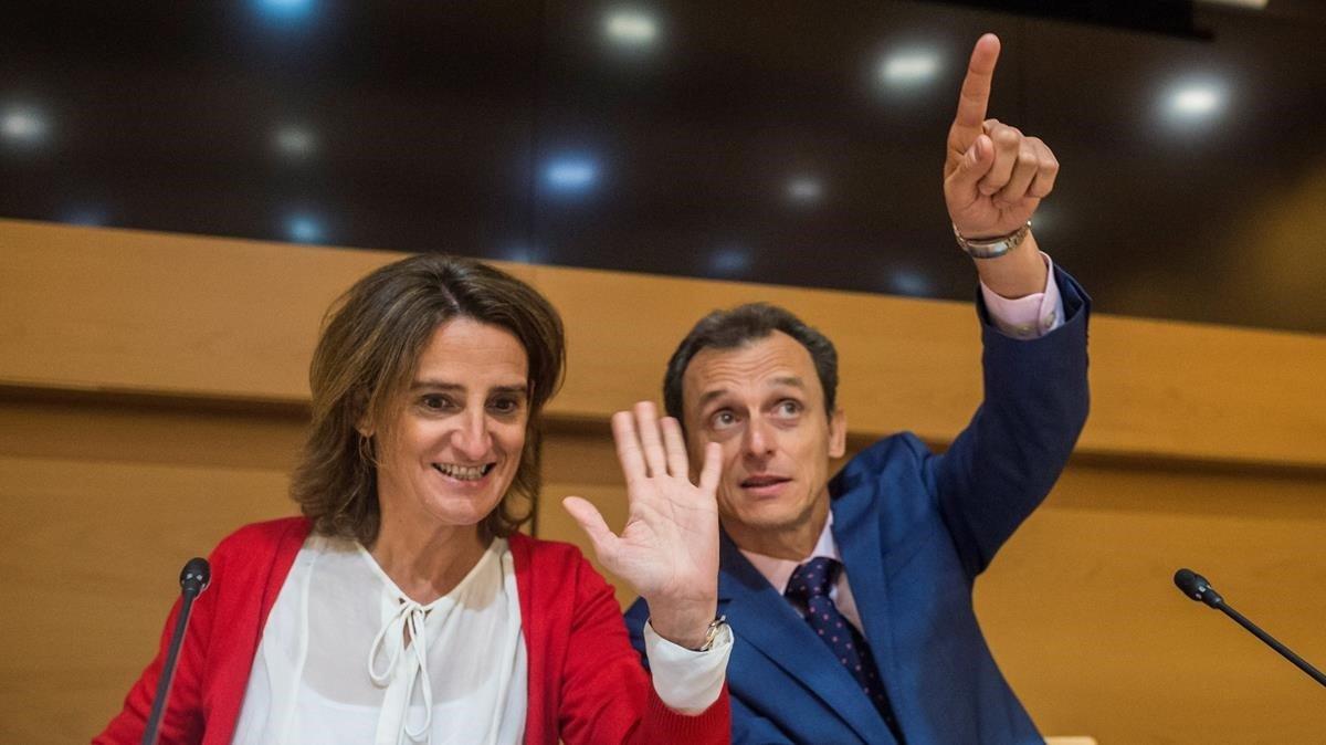 Teresa Ribera y Pedro Duque saludan a Thelma Krug durante la vídeoconferencia que han mantenido con ésta.