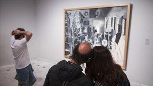 Visitantes en el Museu Picasso, durante la Nit dels Museus.