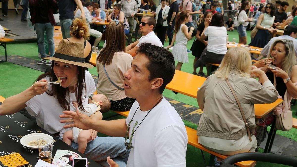 Participantes del festival Tast a la Rambla, el pasado domingo.
