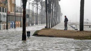 La playa de la Patacona (Valencia) complatemente inundada por la borrasca 'Gloria'.